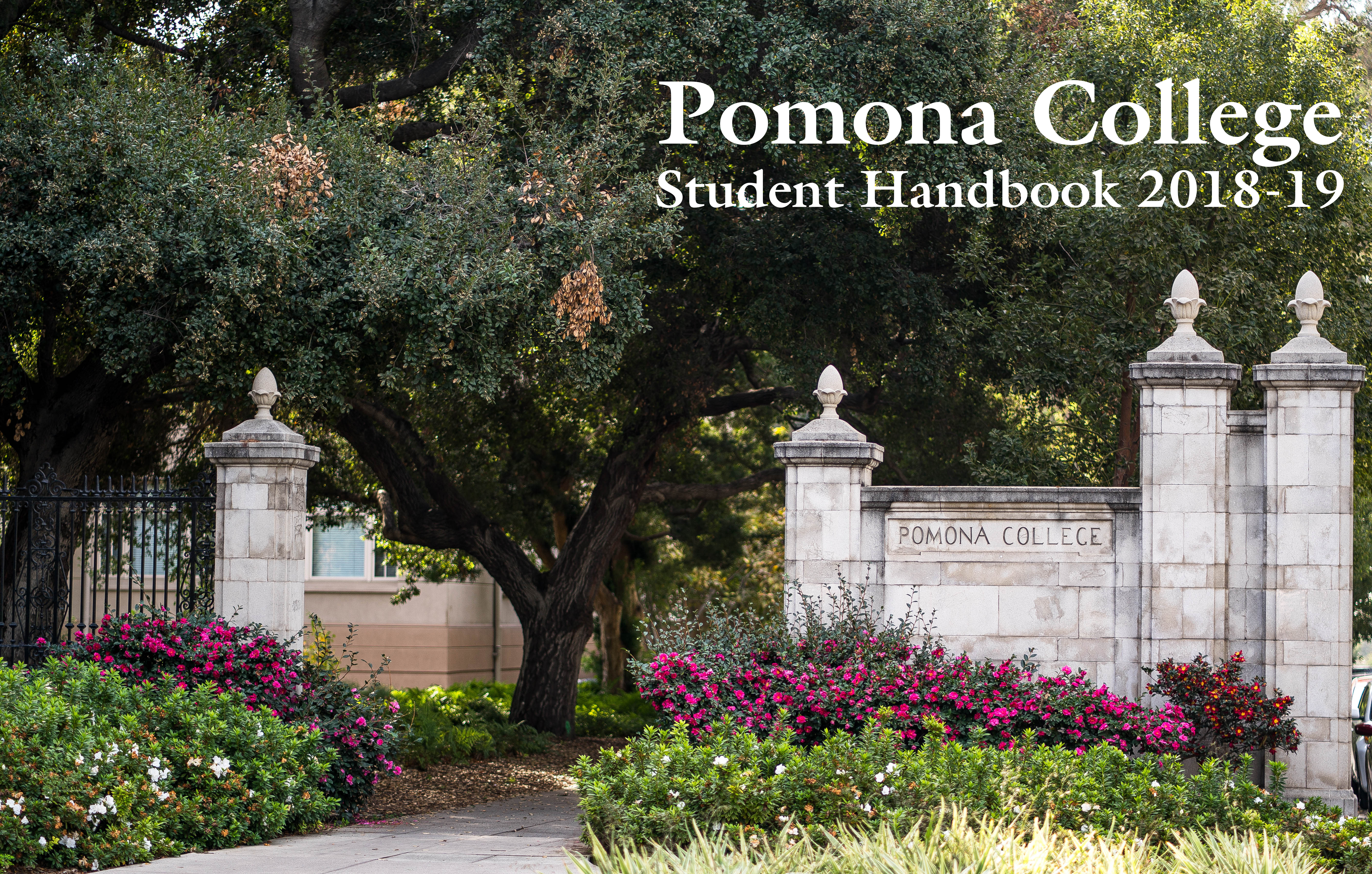 Pomona College entry gates on the corner of College Avenue and 6th Street